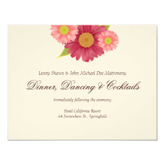 Gerber Daisies Wedding Reception Cards