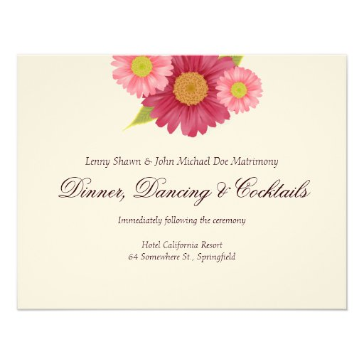 Gerber Daisies Wedding Reception Cards Personalized Invitation