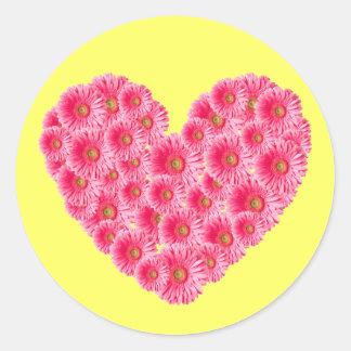 Gerber Daisy Heart Round Sticker