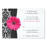 Gerber Daisy Pink Black Damask Wedding RSVP Reply Invites