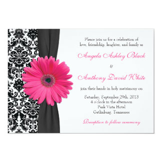 Gerber Daisy Pink Black White Damask Wedding 13 Cm X 18 Cm Invitation Card