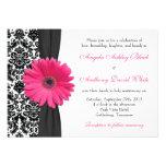 Gerber Daisy Pink Black White Damask Wedding Invitation