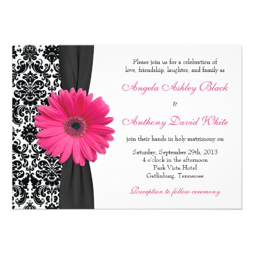Gerber Daisy Pink Black White Damask Wedding Custom Invitation