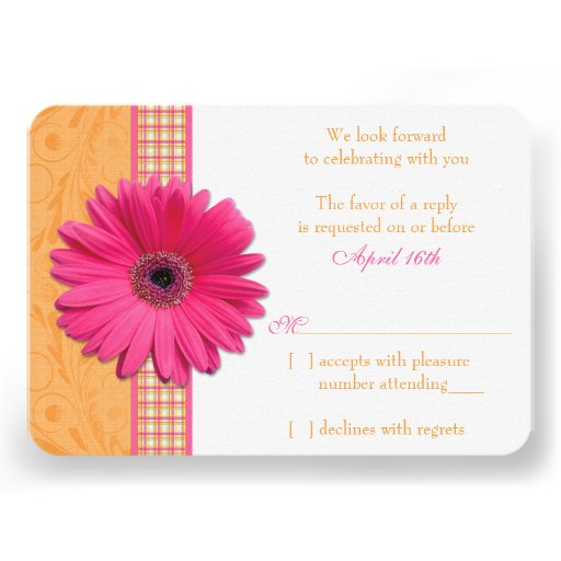 Gerber Daisy Pink Orange Plaid Wedding RSVP Reply Custom Invitations