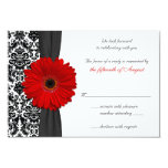 Gerber Daisy Red Black Damask Wedding Reply Card Personalized Invitation