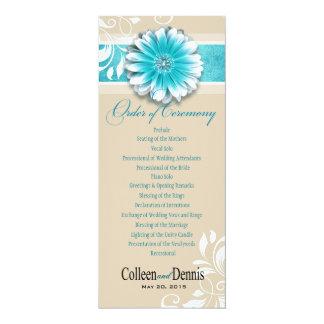 Gerber Daisy Scroll 1 Wedding Program teal 10 Cm X 24 Cm Invitation Card