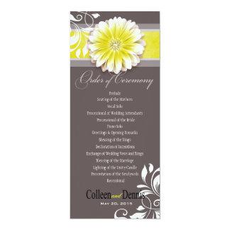 Gerber Daisy Scroll 1 Wedding Program yellow 10 Cm X 24 Cm Invitation Card
