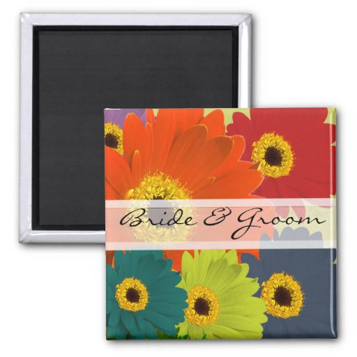 Gerber Daisy Wedding Stickers or Customise Square Magnet