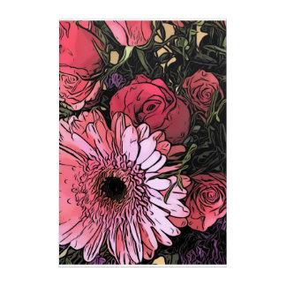 Gerbera and rose bouquet wall art