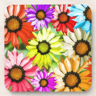 Gerbera colourful flowers drink coasters
