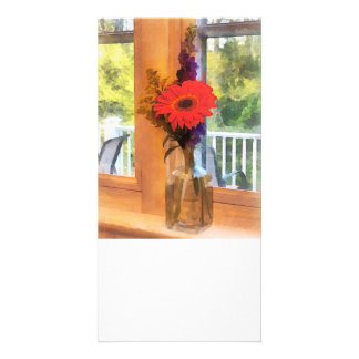 Gerbera Daisies by Kitchen Window Photo Greeting Card