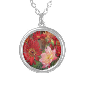 gerbera daisy and rose bouquet  oil painting round pendant necklace