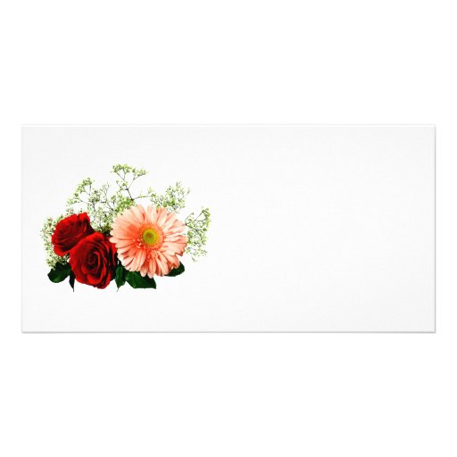 Gerbera Daisy And Two Roses Photo Greeting Card