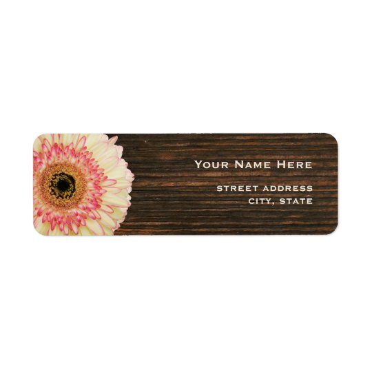 Gerbera Daisy & Barnwood Address Label