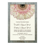 Gerbera Daisy & Barnwood Wedding Invitation
