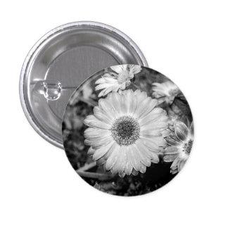 Gerbera Daisy Black & White Photograph 3 Cm Round Badge