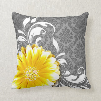Gerbera Daisy Fancy Damask | grey yellow white Cushion