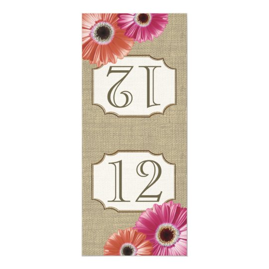 Gerbera Daisy Pink and Coral Table Number Card