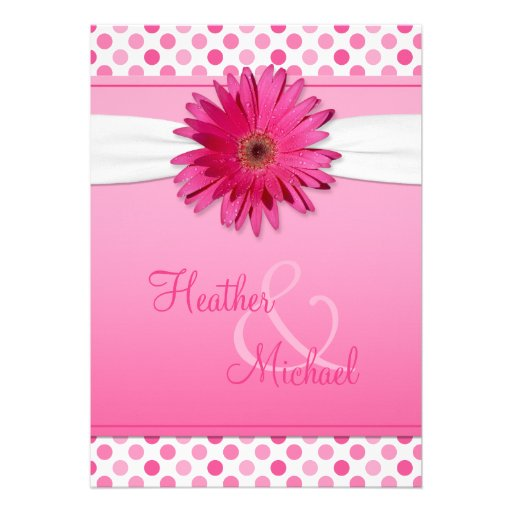 Gerbera Daisy Pink Polka Dot Wedding Invitation