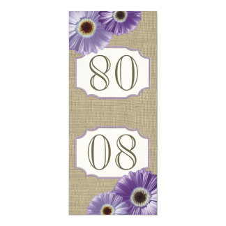 Gerbera Daisy Purple Table Number 10 Cm X 24 Cm Invitation Card