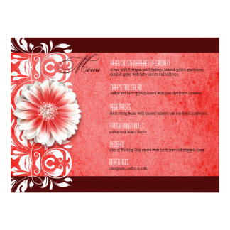 Gerbera Daisy Scroll 1 Dinner Menu red burgundy Personalized Announcements