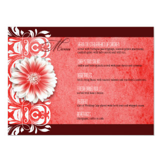 "Gerbera Daisy Scroll 1 Dinner Menu red burgundy 6.5"" X 8.75"" Invitation Card"