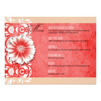 Gerbera Daisy Scroll 1 Dinner Menu red sand Custom Invitations