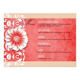 Gerbera Daisy Scroll 1 Dinner Menu red sand Custom Invitations