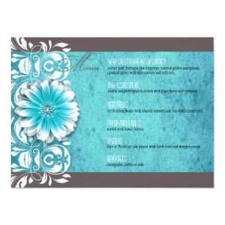 """Gerbera Daisy Scroll 1 Dinner Menu teal chalkboard 6.5"""" X 8.75"""" Invitation Card"""