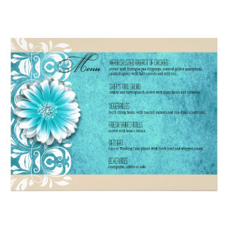 Gerbera Daisy Scroll 1 Dinner Menu teal oatmeal Custom Invite