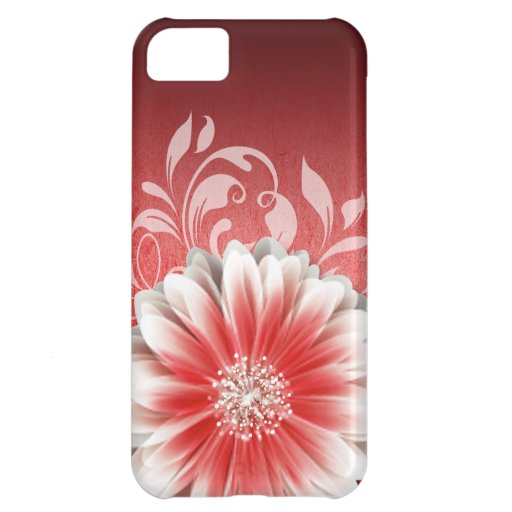 Gerbera Daisy Scroll 1 | red burgundy Cover For iPhone 5C