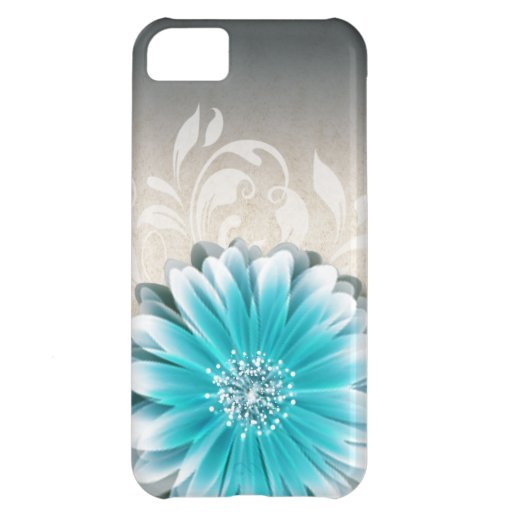 Gerbera Daisy Scroll 1 | teal oatmeal iPhone 5C Cases