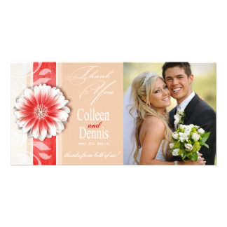 Gerbera Daisy Scroll 1 Thank You red sand Personalised Photo Card