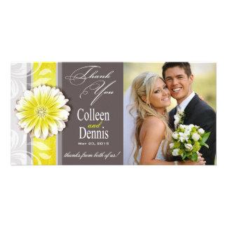 Gerbera Daisy Scroll 1 Thank You yellow chalkboard Personalized Photo Card
