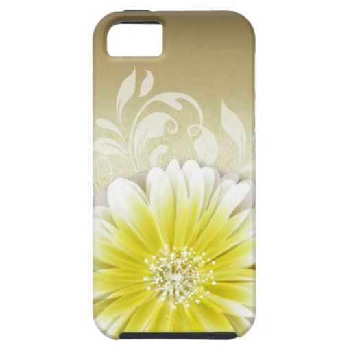Gerbera Daisy Scroll 1 | yellow taupe iPhone 5 Covers