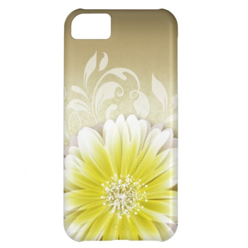 Gerbera Daisy Scroll 1 | yellow taupe iPhone 5C Case