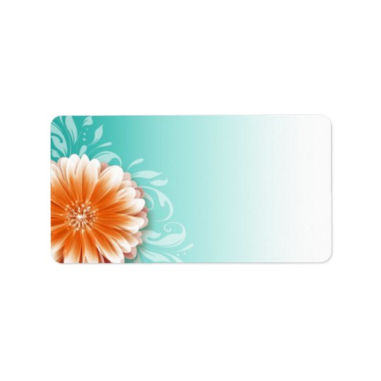 Gerbera Daisy Scroll | orange aqua Mailing Address Label