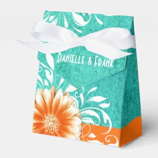 Gerbera Daisy Scroll | orange turquoise Favour Box