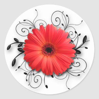 Gerbera Daisy Theme Classic Round Sticker