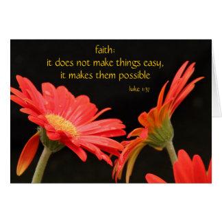 Gerbera Daisy, w Scripture verse on Faith (Luke) Greeting Card