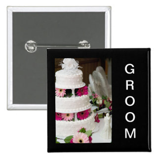 Gerbera Daisy Wedding Cake 15 Cm Square Badge