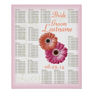 Gerbera Daisy Wedding Guest Seating Chart