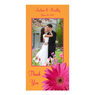Gerbera Daisy Wedding Thank You Photocard Photo Greeting Card