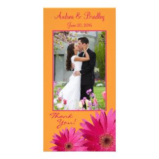 Gerbera Daisy Wedding Thank You Photocard Photo Card Template