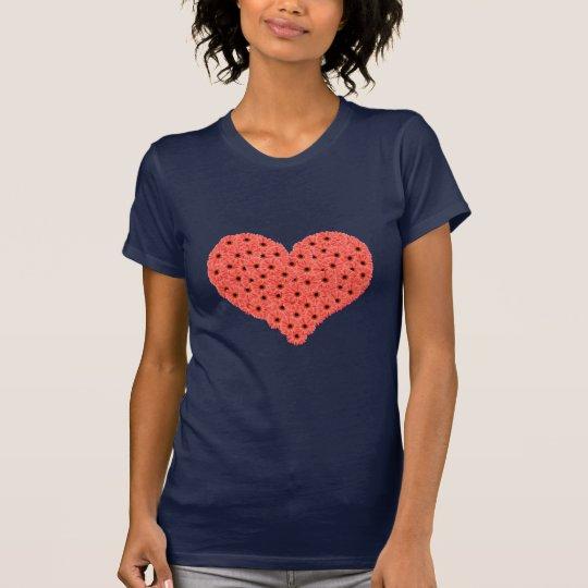 Gerbera Flowers Heart Blue T-Shirt