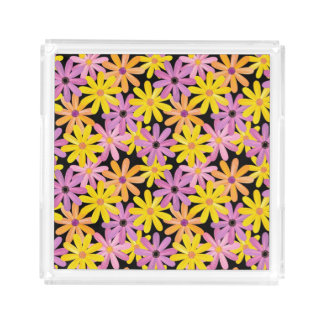 Gerbera flowers pattern, background acrylic tray