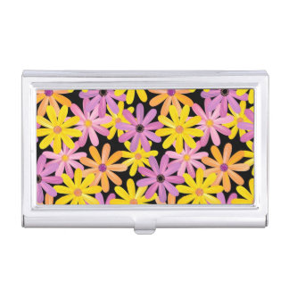 Gerbera flowers pattern, background business card holder