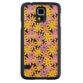 Gerbera flowers pattern, background carved maple galaxy s5 case