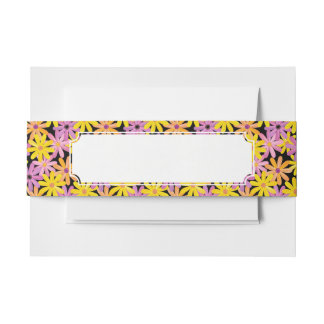Gerbera flowers pattern, background invitation belly band