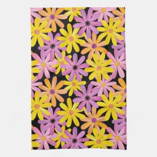 Gerbera flowers pattern, background tea towel